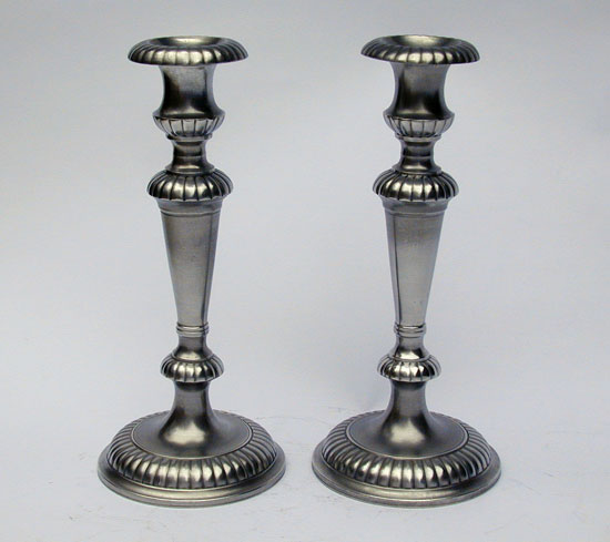 A Pair of Tall Gadrooned Pewter Candlesticks