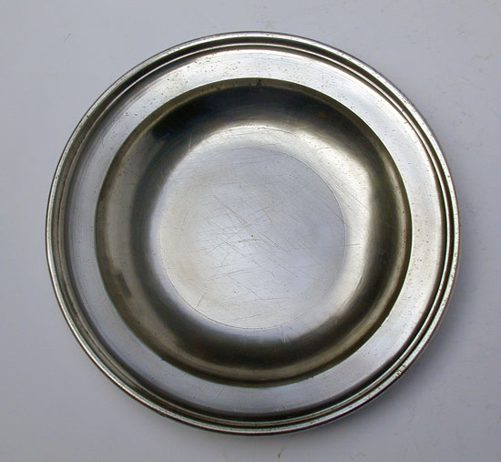 A Pewter Export Soup Plate by Thomas & Townsend Compton