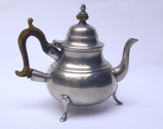A Export Footed Pewter Teapot by Samuel Ellis