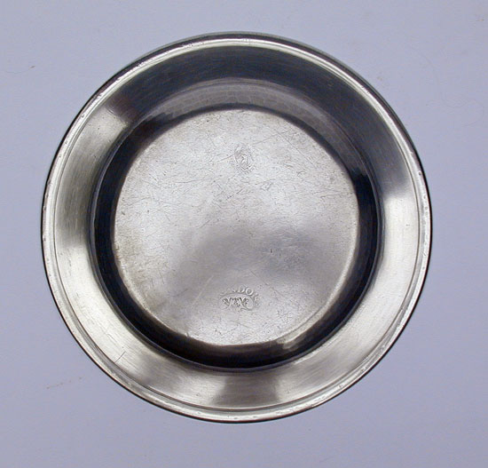An Export Flat Rim Pewter Plate by Birch & Villers