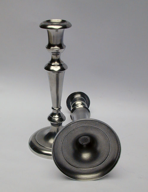 A Pair of Unmarked American Trumpet Shaft Candlesticks