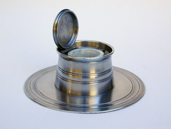 An English Pewter Capstan Inkwell