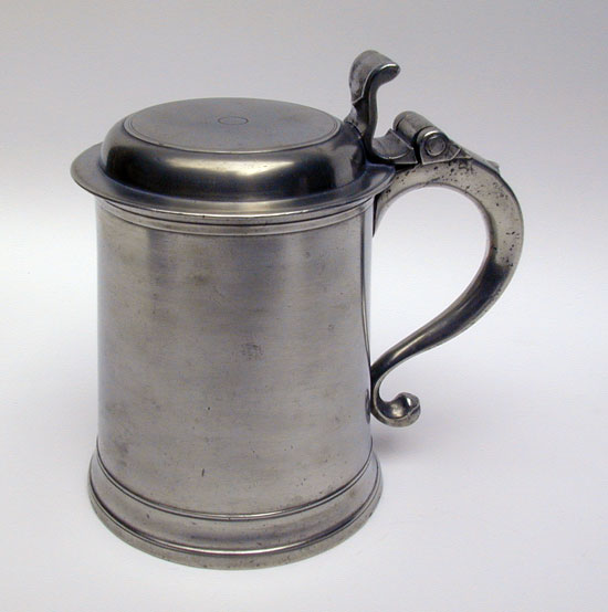 Unmarked American Pewter Tankard Attributed to William Elsworth