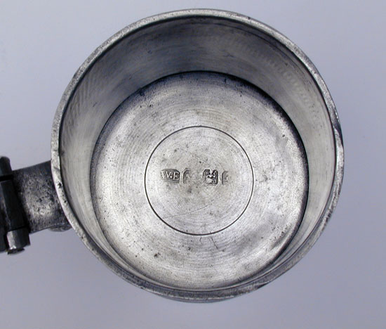 A Scarce Crenate Lip Flat Lid Antique American Pewter Tankard by William Elsworth