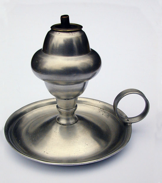 A Roswell Gleason Pewter Whale Oil Lamp