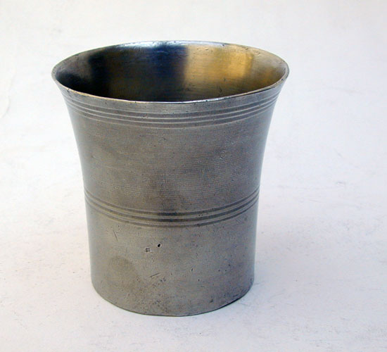 An American Pewter Beaker by Thomas Wildes