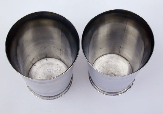 A Fine Pair of Pewter Tall Beakers by Oliver Trask