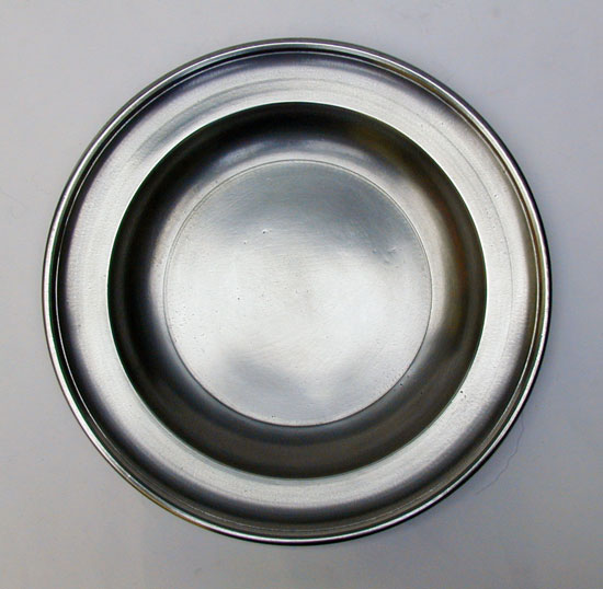An Antique American Semi-Deep Pewter Plate by Thomas D. Boardman