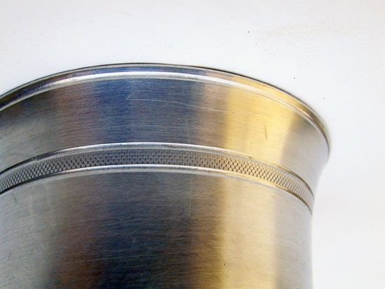 An Unmarked Trask Knurled Decorated Antique Pewter Beaker