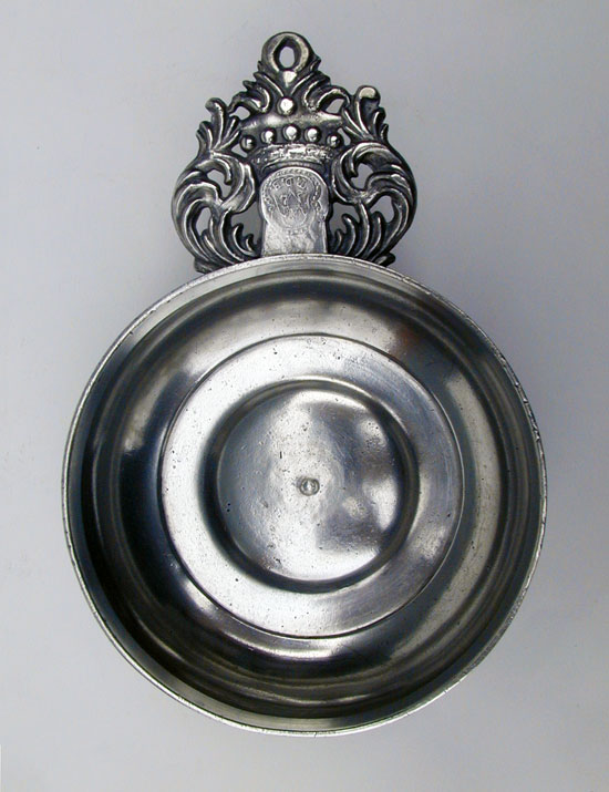 A T.D. Boardman Crown Handle Pewter Porringer