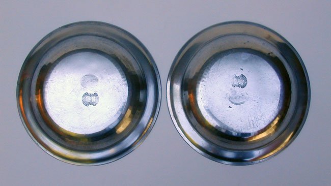 A Fine Pair of Export Pewter Soup Plates by Thomas Compton