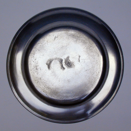 A Single Reed Rim Pewter Plate by Ashbil Griswold