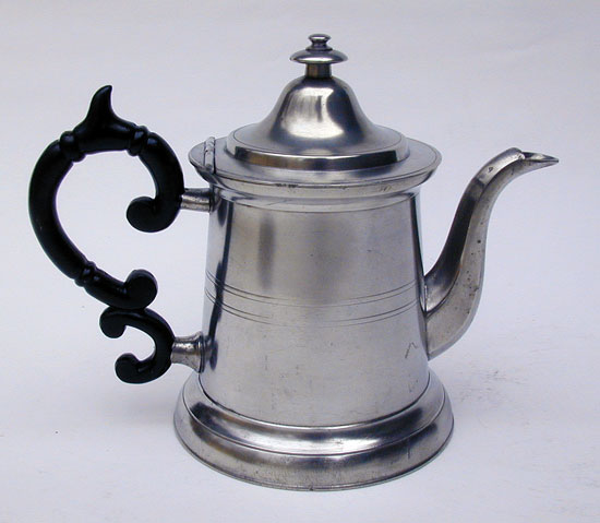 A Truncated Light House Form American Pewter Teapot by Morey & Ober
