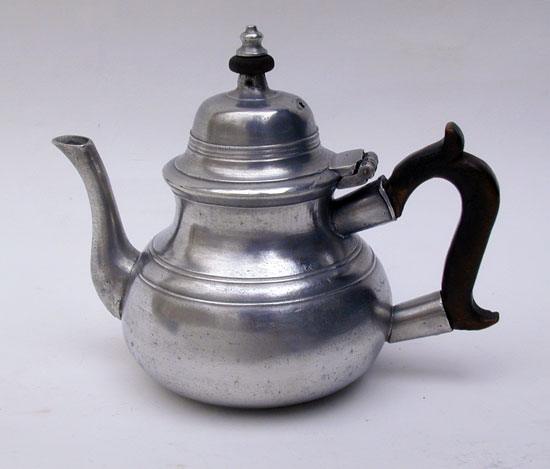 An 18th Century English Export Pewter Pear Form Teapot