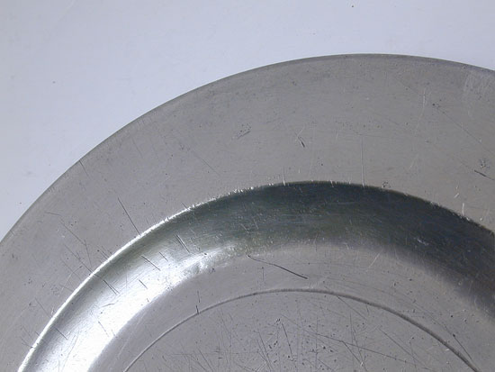 A Flat Rim Export Pewter Plate by Robert Bush & Co