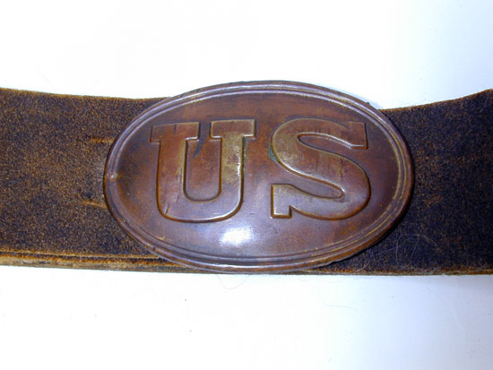 A Civil War Enlisted Man's Buff Leather Waist Belt w/ US Oval Buckle