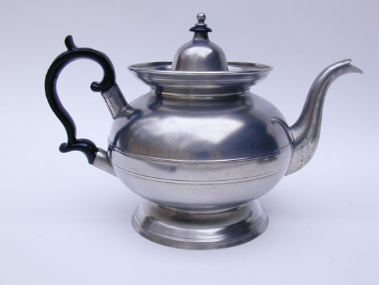 An American Pewter Inverted Mold Teapot by Boardman & Co.