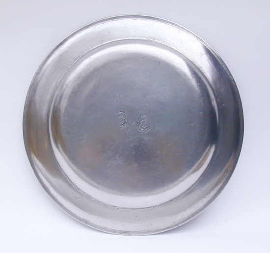 A Very Fine American Pewter Platter by Jacob Whitmore