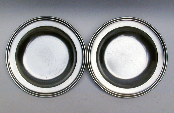 A Pair of Export Pewter Soup Plates by Townsend & Compton