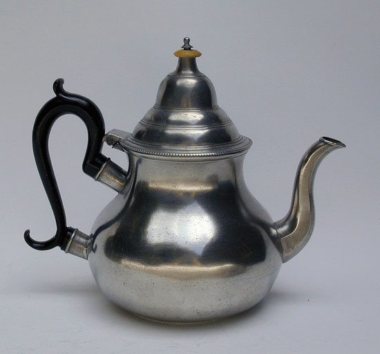 A Townsend & Compton Export Pewter Pear Form Teapot