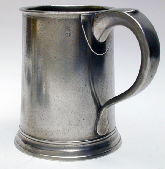 An Export Quart Taper-Sided Pewter Mug by Cornelius Swift