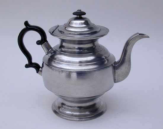 An Inverted Mold Pewter Teapot by Daniel Curtiss