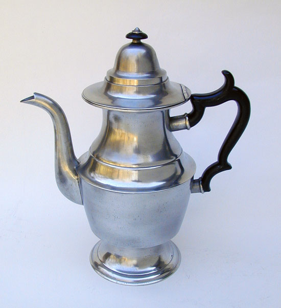 A Pewter Urn Form Coffeepot by Rufus Dunham