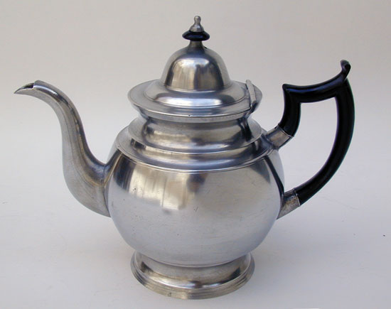 An Inverted Mold Pewter Teapot by I. Curtiss